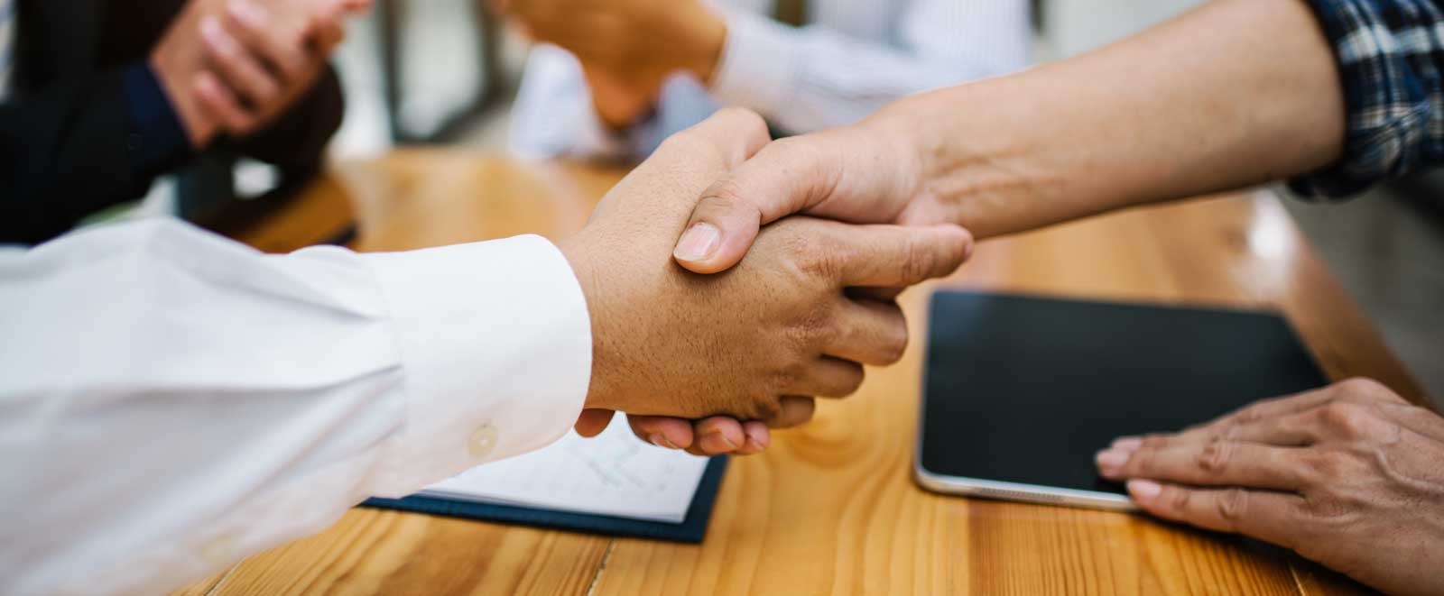 in raise business man shaking hands work corporate meeting