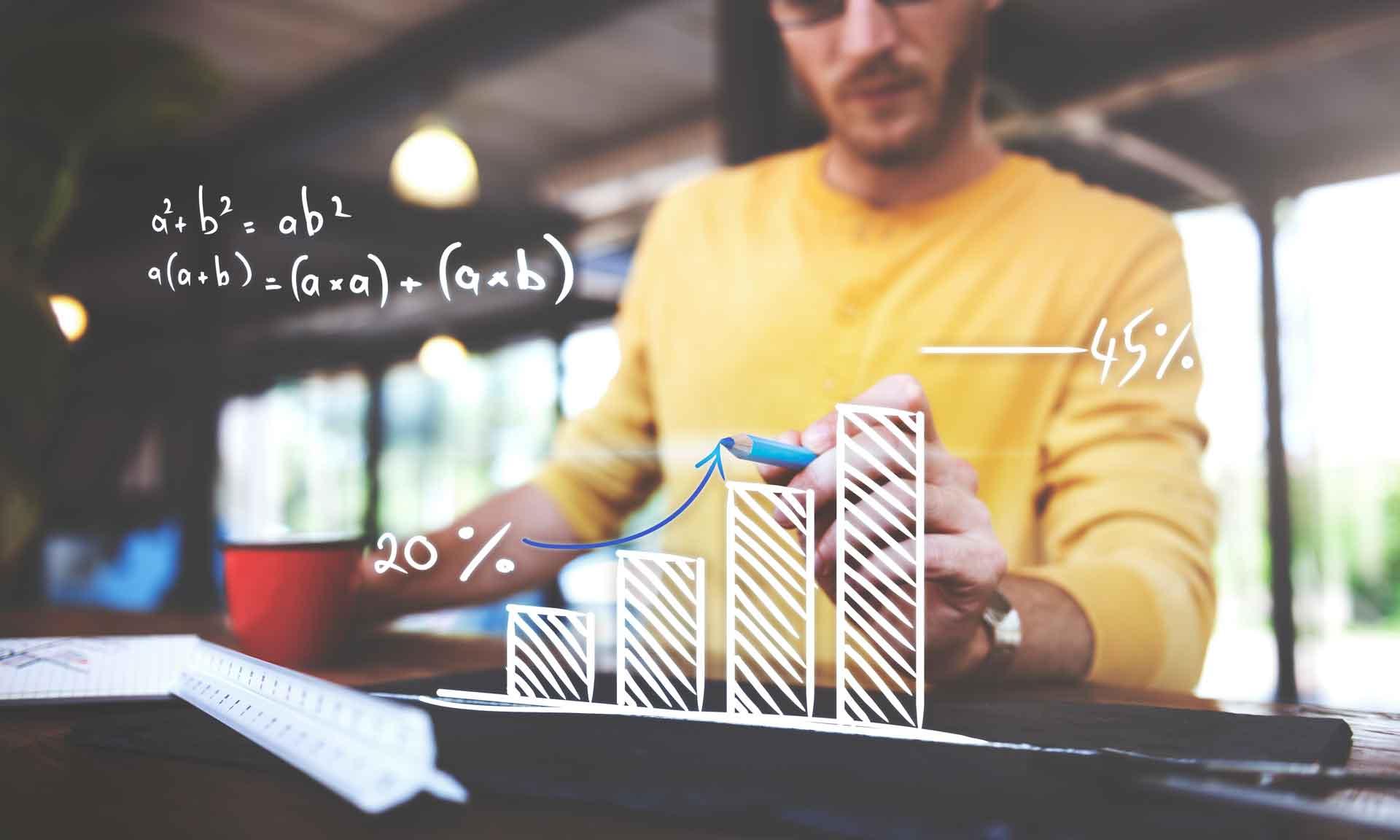 in raise closeup man writing arrow up graph increase